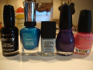 Left to right: Ebony Hates Chris, Calypso Blue, Snow Much to Do-So Little Time, Amethyst, Love & Beauty pink