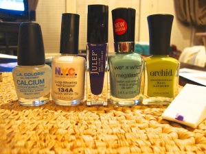 L.A. Colors Calcium Treatment/ NYC French Tip White/ Julep Eden/ Wet n Wild I Need a Refresh-Mint/ Orchid Twist of Lime/ Makeup Sponge